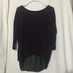 THE LIMITED Purple Top with Sheer Details on Back